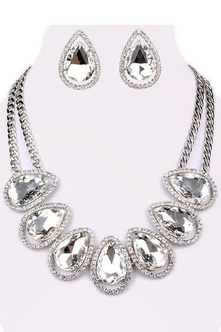 Teardrop Crystal Stone Necklace Set