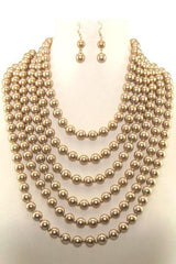 Multi-Layered Pearl Necklace Set With Ear Drop Pearl Hook Earrings