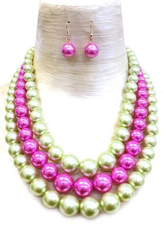 Faux Pearl Necklace Set (Multiple Colors Available)