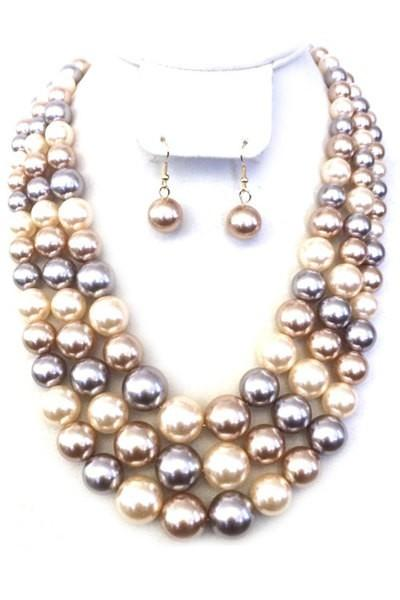 Three Layered Pearl Necklace Set with Earrings