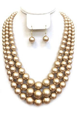 Three Layered Pearl Necklace Set With Ear Drop Pearl Hook Earrings