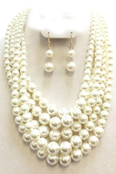 Multi-Layered Pearl Necklace Set with Ear Drop Pearl Earring