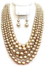Multi Layered Necklace Set with Earrings