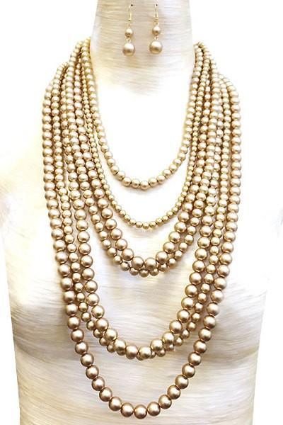 Multi Layered Necklace Set with Earrings - 2 1/4 inch thick