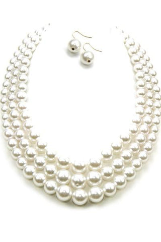 Layered Pearl Necklace Set With Hook Earrings (Multiple Colors Available)