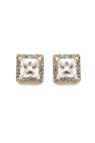 Square Cubic Zirconia Studded Earrings