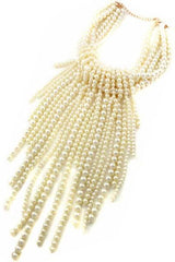 Multi Pearl Beads Necklace Set With Pearl Tassel And Ear Drop Pearl Hook Earrings