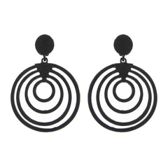 Round Textured Metal Drop Earrings