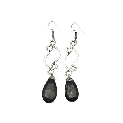 Silver Plated Earring With Moss Agate