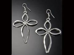 Silver Plated Earring With Cross Design