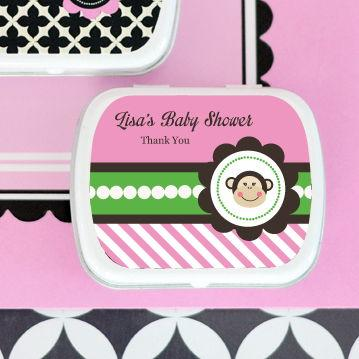 Pink Monkey Party Personalized Mint Tins