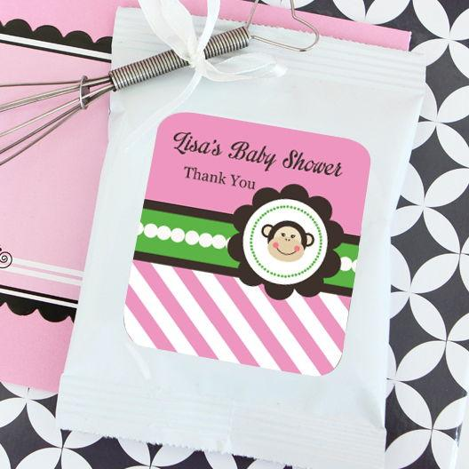 Pink Monkey Party Personalized Hot Cocoa + Optional Heart Whisk