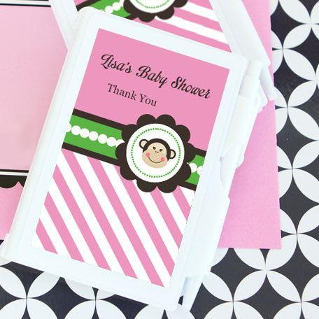 Pink Monkey Party Personalized Notebook Favors