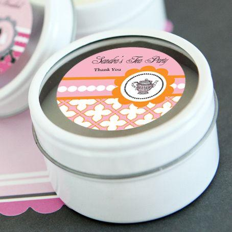 Tea Party Personalized Round Candle Tins