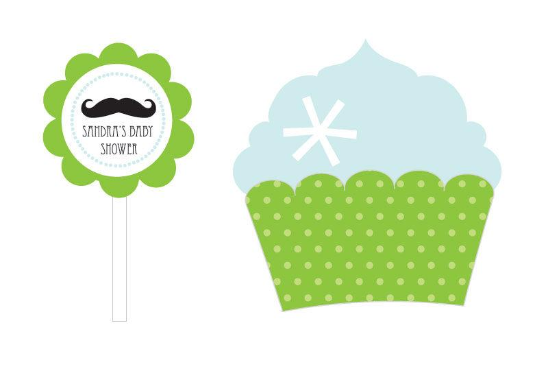 Little Man Party Cupcake Wrappers & Cupcake Toppers (Set of 24)