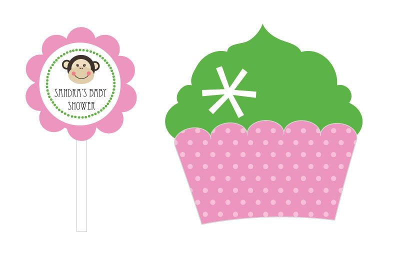 Pink Monkey Party Cupcake Wrappers & Cupcake Toppers (Set of 24)