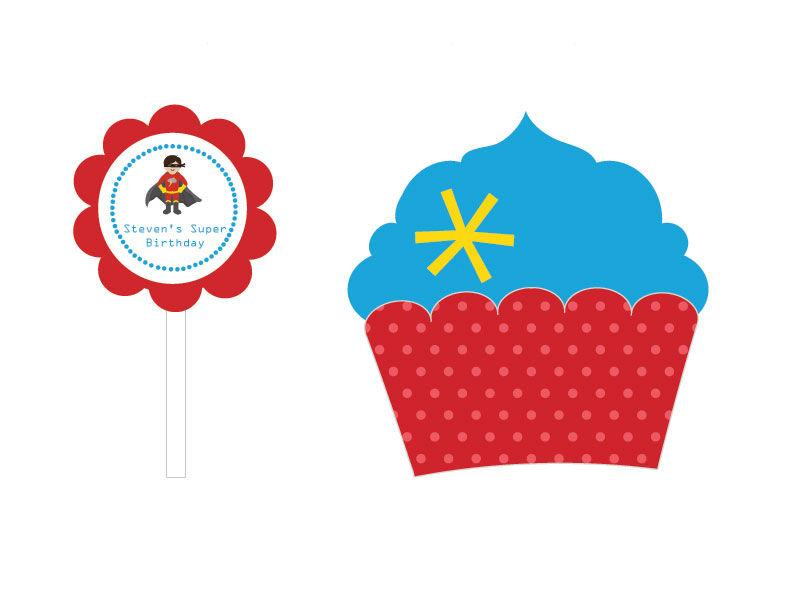 Super Hero Boy Birthday Cupcake Wrappers & Cupcake Toppers (Set of 24)