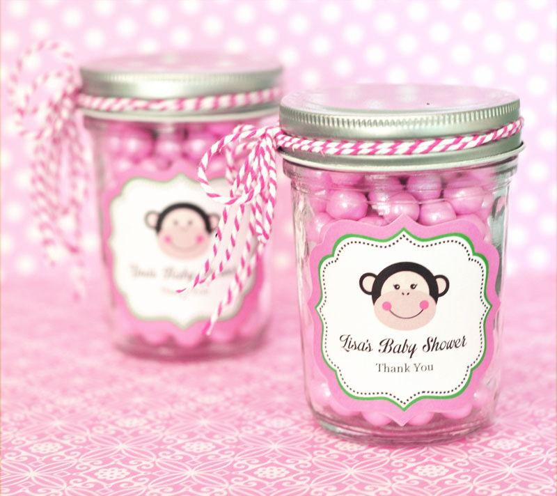 Pink Monkey Party Personalized Mini Mason Jars