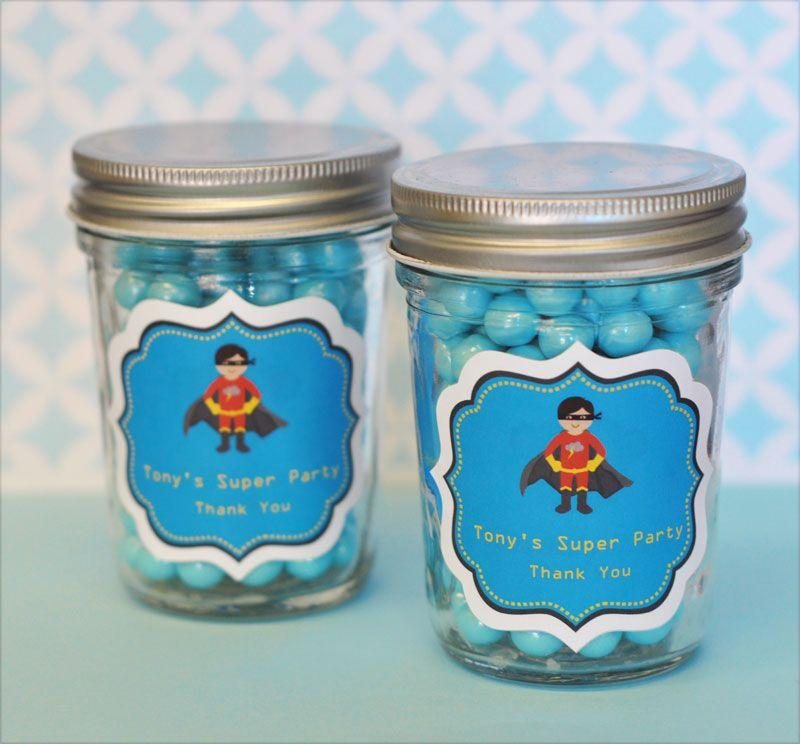 Super Hero Boy Birthday Personalized Mini Mason Jars