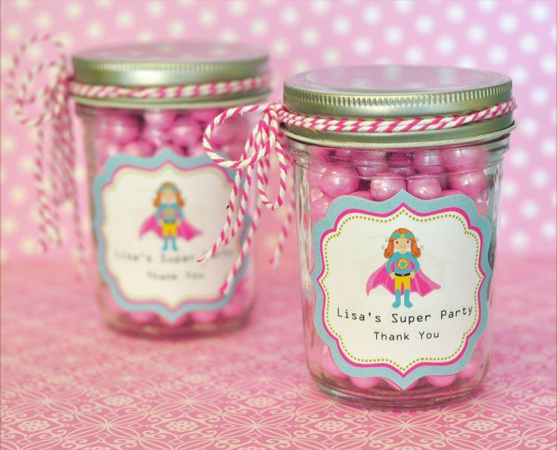 Super Hero Girl Birthday Personalized Mini Mason Jars