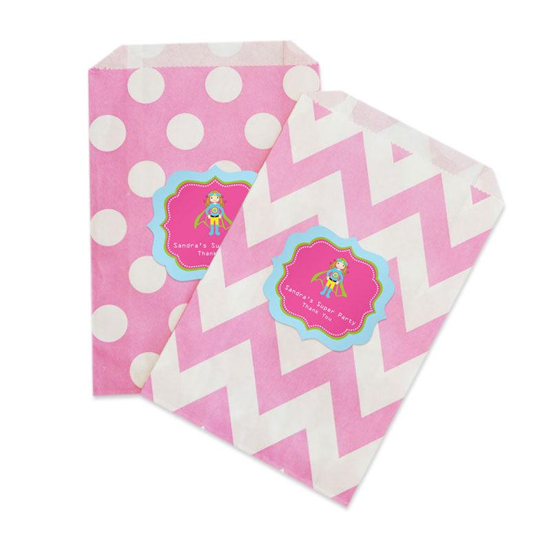 Super Hero Girl Birthday Chevron & Dots Goodie Bags (set of 12)