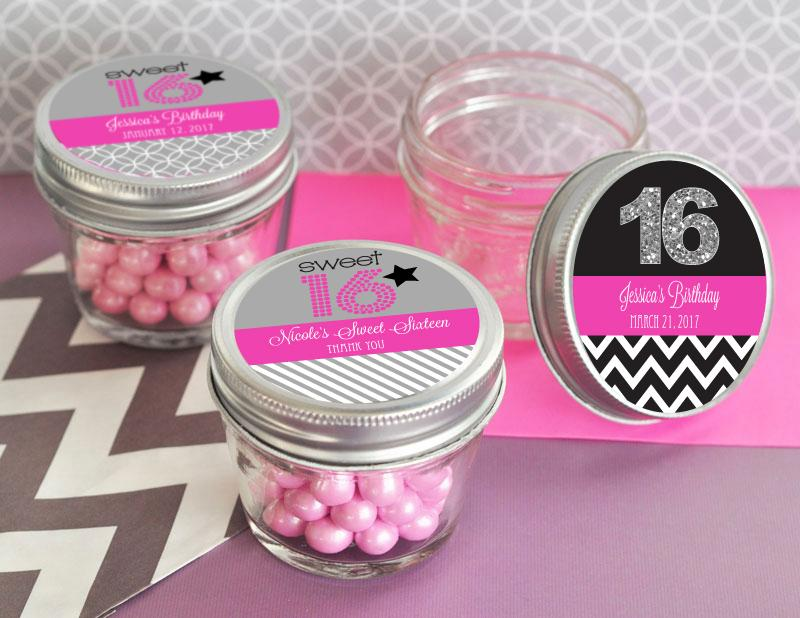 Personalized Sweet 16 or 15 Small 4 oz Mason Jars