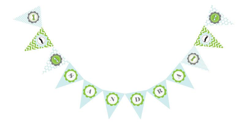 Little Man Party Pennant Banner