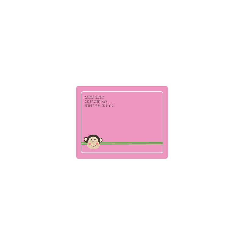 Pink Monkey Party Return Address Labels
