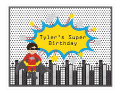 Super Hero Boy Birthday Party Sign