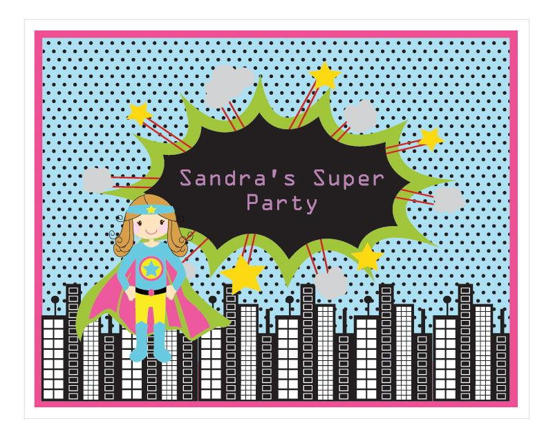 Super Hero Girl Birthday Party Sign