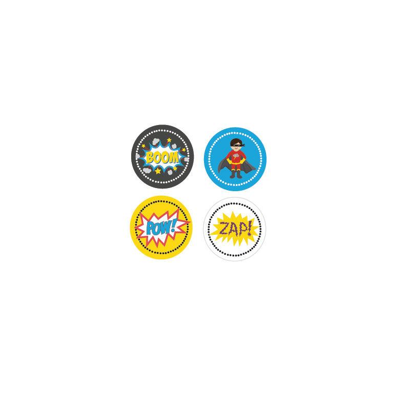Super Hero Boy Birthday Decorative Mini Stickers (Set of 32)