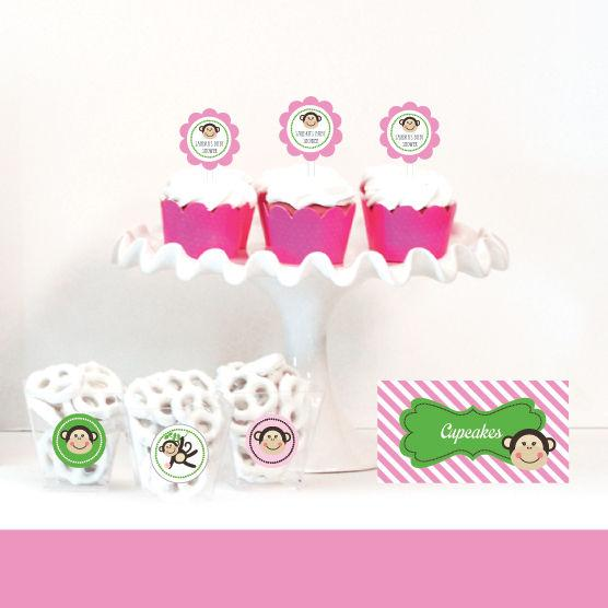 Pink Monkey Party Menu CardsPlace Cards (Set of 4)