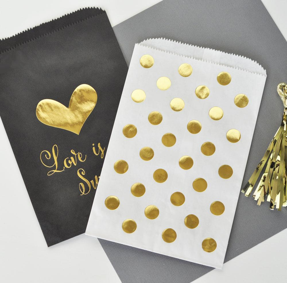 """Love is Sweet"" Gold Foil Candy Buffet Bags (Set of 12)"