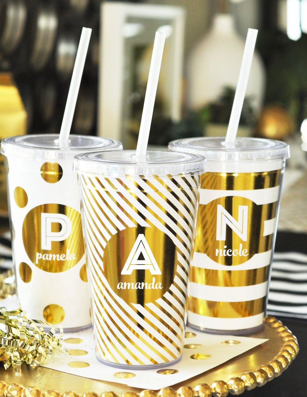 Personalized Metallic Foil Tumblers