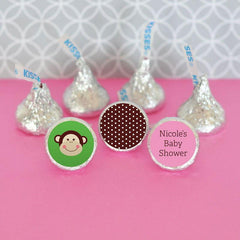 Personalized Pink Monkey Hershey's® Kisses Labels Trio (Set of 108)