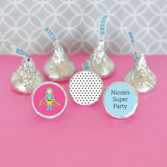 Personalized Super Hero Girl Birthday Hershey's® Kisses Labels Trio (Set of 108)