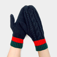 Triple Color Cable Mitten Gloves
