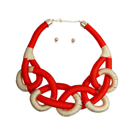 Red Tribal Thread Wrapped Knotted Rope Necklace Set