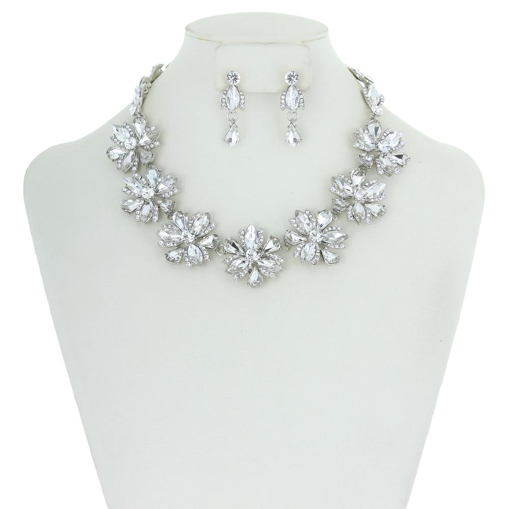 Marquise Stone Flower Necklace
