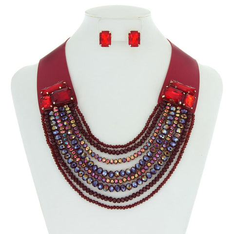 Leather w/ Multi-Layered Bead Necklace Set