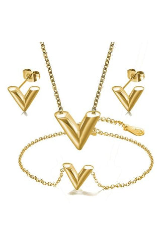 V Pendant Stainless Steel Necklace Set