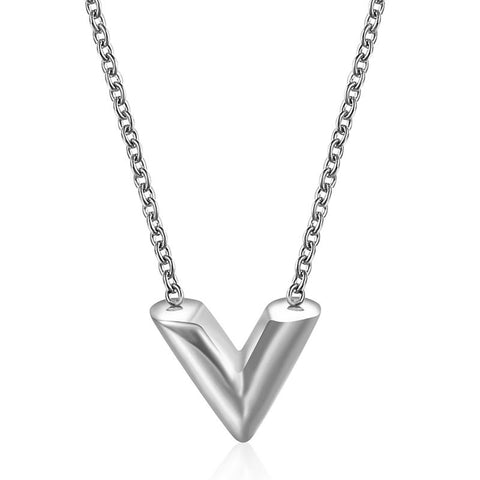 V Stainless Steel Necklace - Silver