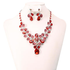 Red Rhinestone Necklace Set
