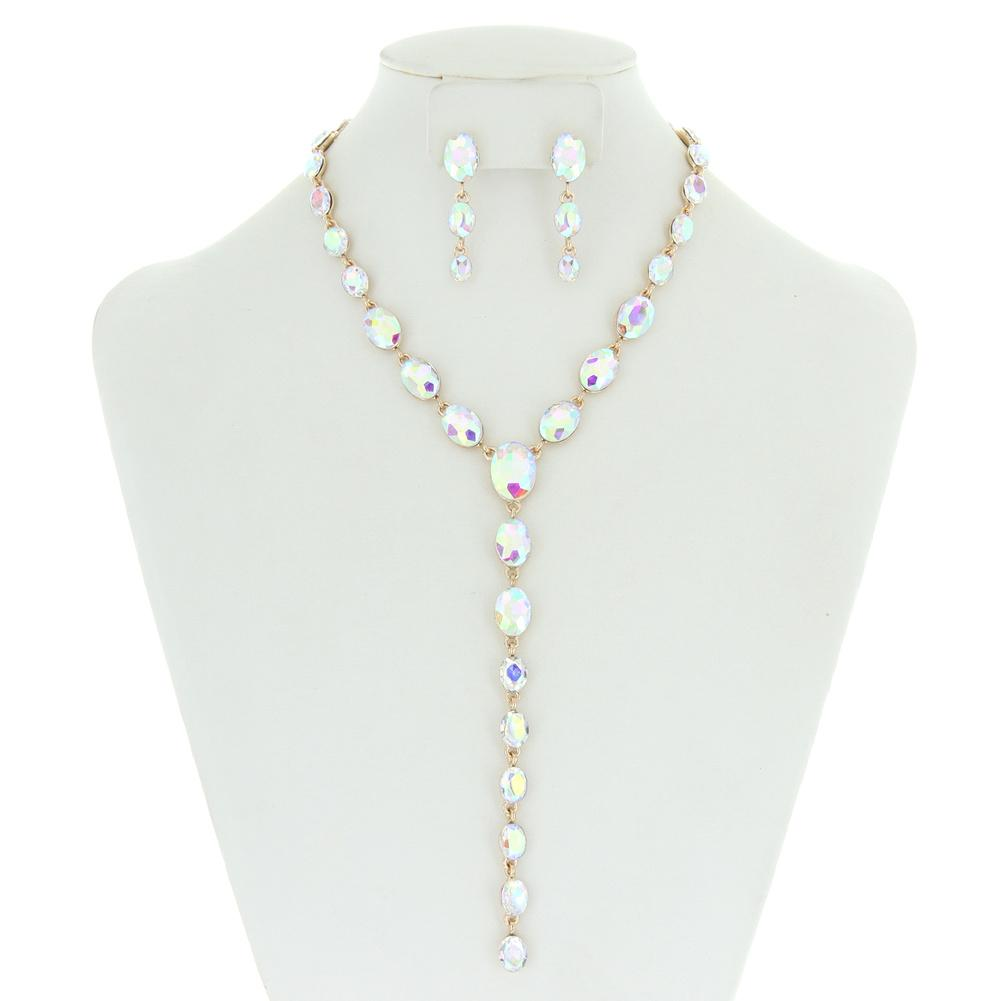 Oval Lariat Rhinestone Necklace Set