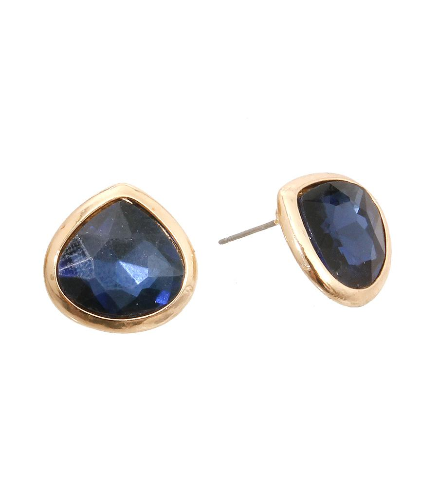 Navy Teardrop Stud Earrings