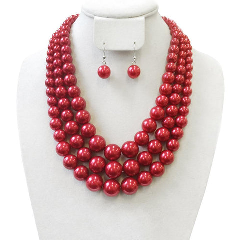 3 Layer Large Pearl Strands Necklace And Earrings Set