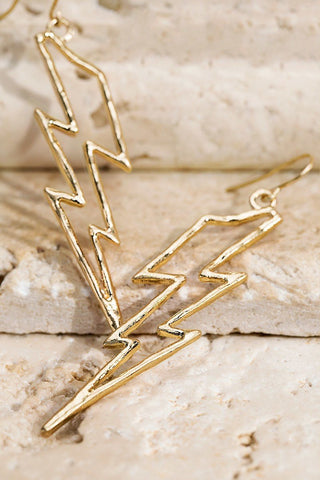 Lightning Bolt Outline Dangle Hook Earrings