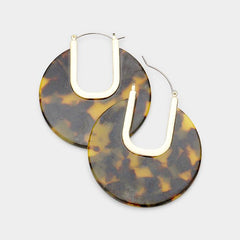 Cut Out Tortoise Celluloid Acetate Disc Pin Catch Earrings