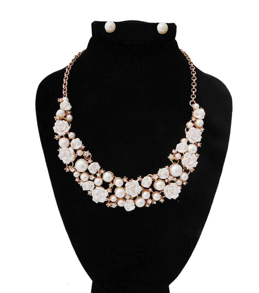 Rhinestone and Pearl Necklace Set