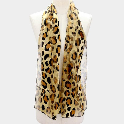 Silk Feel Striped Leopard Pattern Scarf